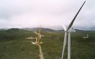 Where the wild wind blows … on the job at the Mount Emerald Wind Farm