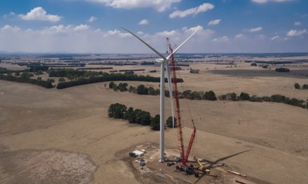 First turbine standing proud at Stockyard Hill Wind Farm